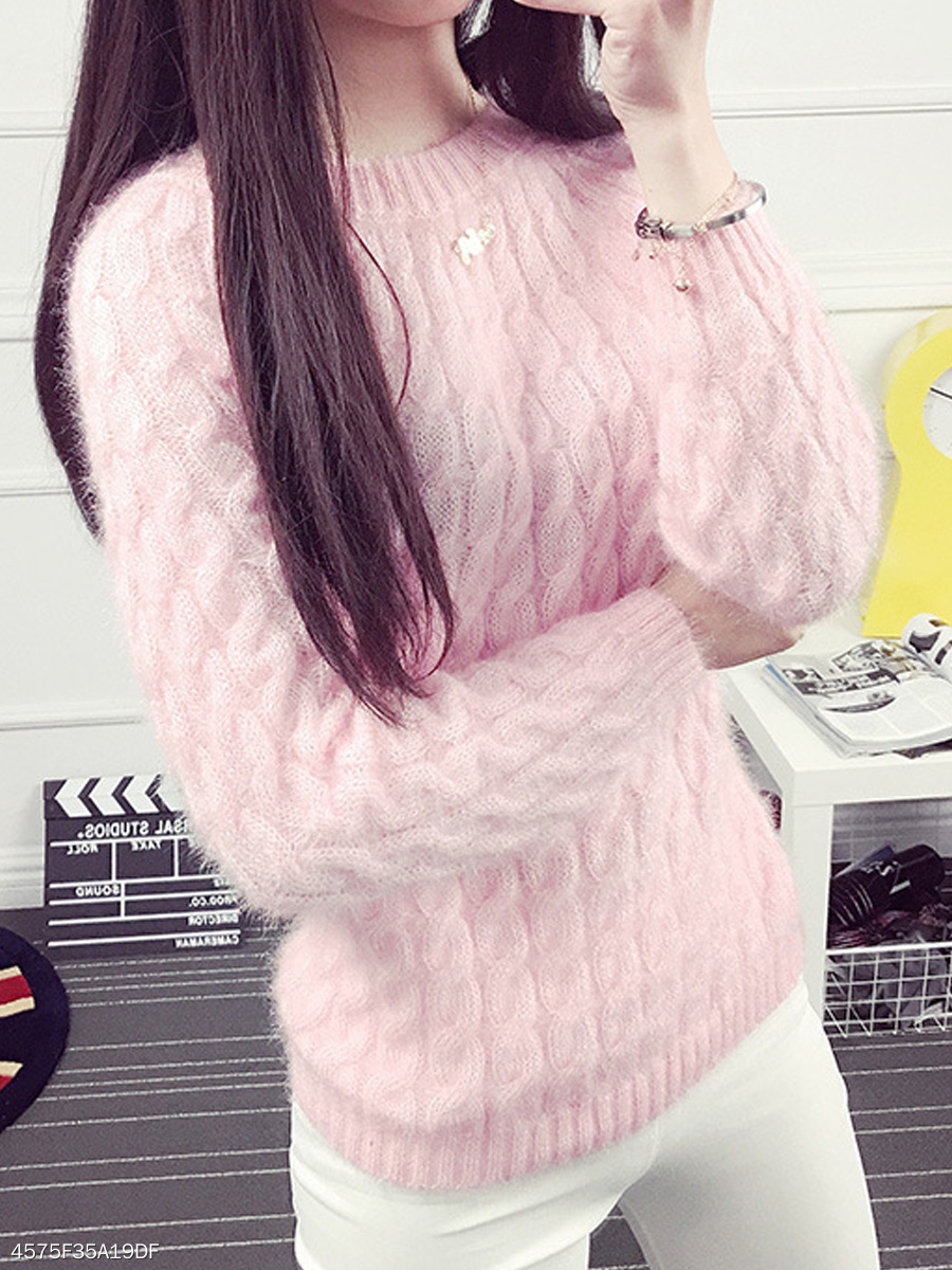 Round Neck  Embossed Plain  Long Sleeve Sweaters Pullover