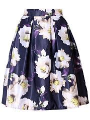 Elastic-Waist-Inverted-Pleat-Floral-Layered-Midi-Skirt