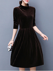 Turtleneck Plain Velvet Skater Dress