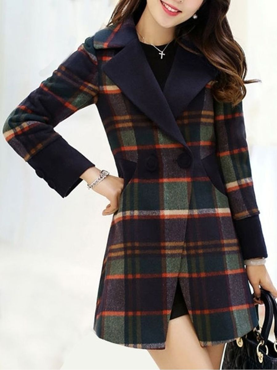 Stunning Lapel Breasted Patchwork Plaid Overcoats