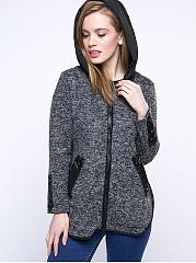 Hooded-Contrast-Trim-Pocket-Curved-Hem-Coat