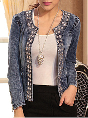 Awesome Round Neck Paillette Jackets