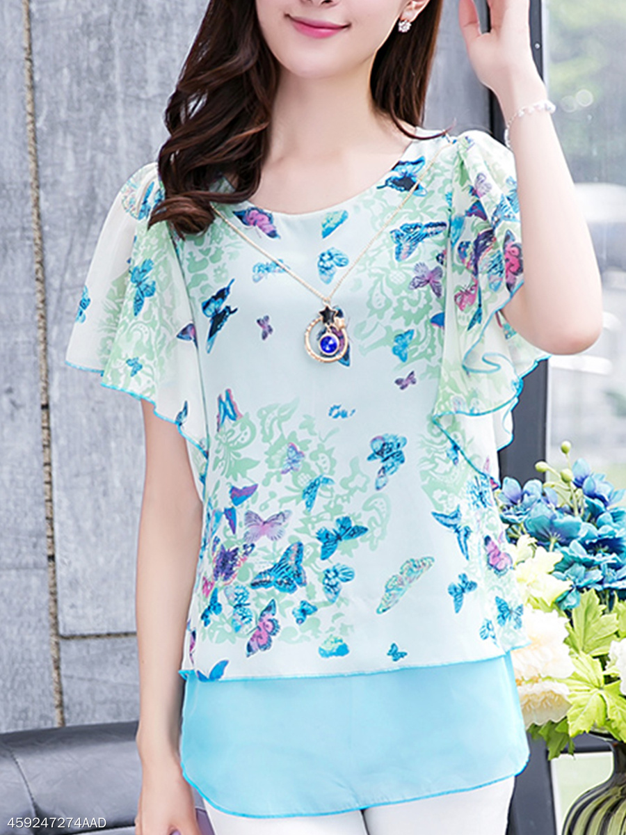 Spring Summer Chiffon Polyester Women Round Neck Asymmetric Hem