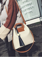 Color Block Handle Tassel Pu Crossbody Bag