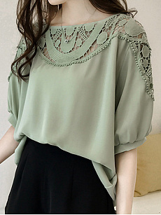 Polyester  Round Neck  Hollow Out Plain  Short Sleeve Blouses