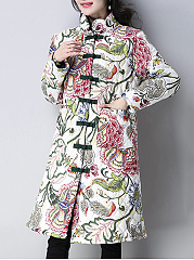 Band Collar  Single Breasted  Floral Printed  Long Sleeve Coats