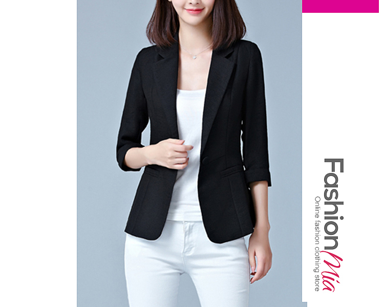 material:blend, collar&neckline:notch lapel, sleeve:three-quarter sleeve, more_details:single button, pattern_type:plain, occasion:office, season:autumn*spring, package_included:top*1, length:59,shoulder:36,sleeve length:41,bust:82,waist:72,