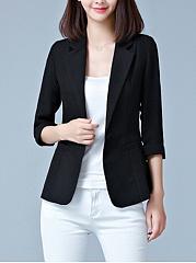 Chic-Notch-Lapel-Single-Button-Plain-Blazer