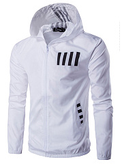 Men Striped Number Pocket Hoodie