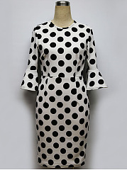 Polka Dot Bell Sleeve Crew Neck Bodycon Dress