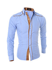 Color Block Office Men's Cptton Shirt