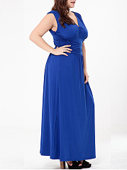 Ruched Empire Deep V-Neck Plain Plus Size Maxi Dress