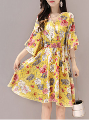 V-Neck Drawstring Floral Printed Bell Sleeve Skater Dress