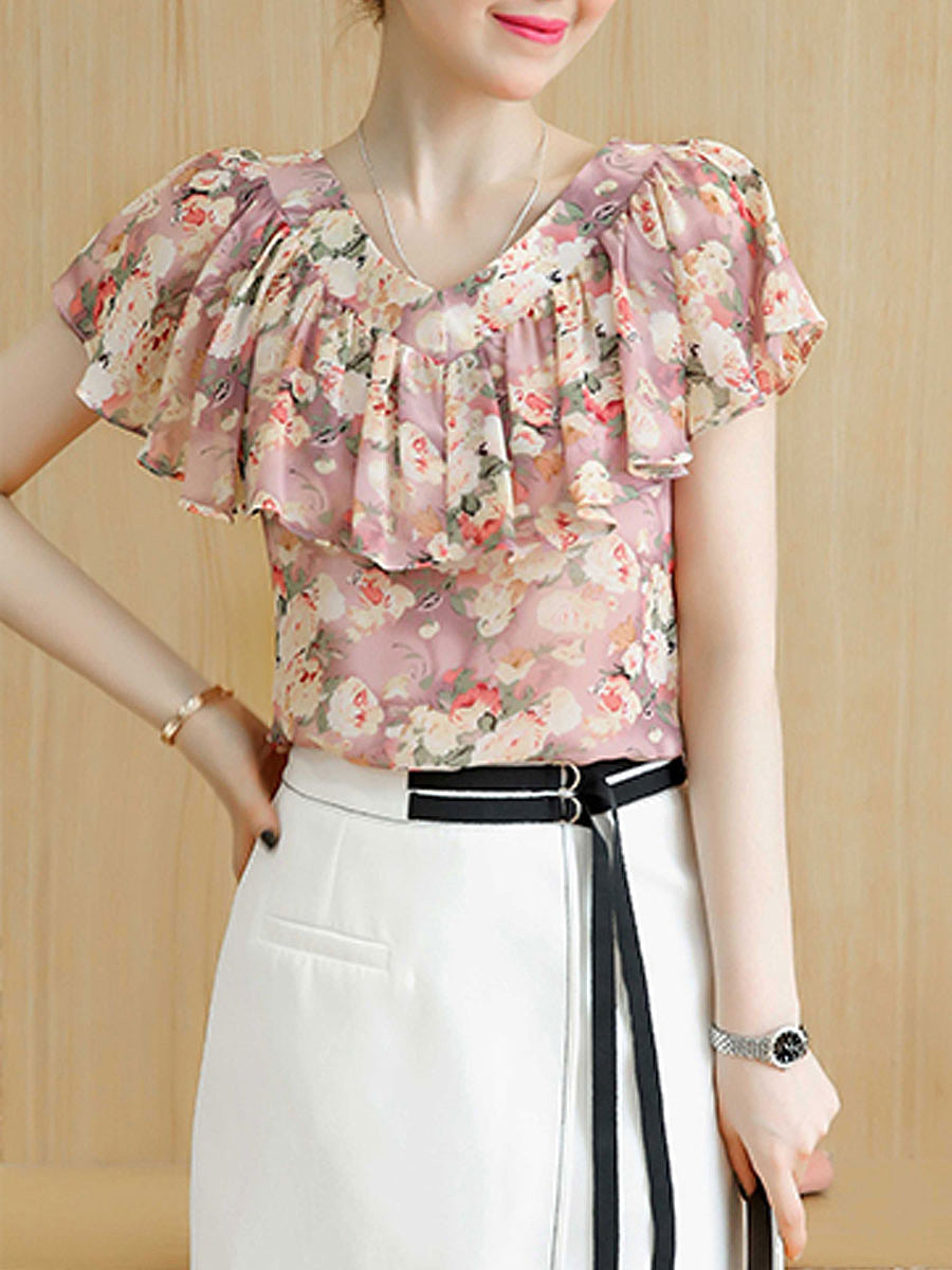 Summer  Polyester  Women  Round Neck  Flounce  Floral Printed  Extra Short Sleeve Blouses