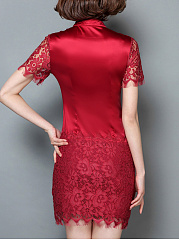 Split Neck Decorative Lace Plain Bodycon Dress