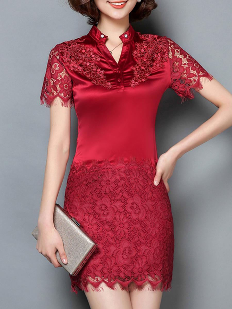 Split Neck Decorative Lace Plain Bodycon Dress