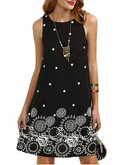 Round Neck  Polka Dot Printed Skater Dress