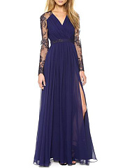 V-Neck  Decorative Lace  Plain Maxi Dress