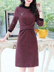 High Neck  Plain Date Shift Dress