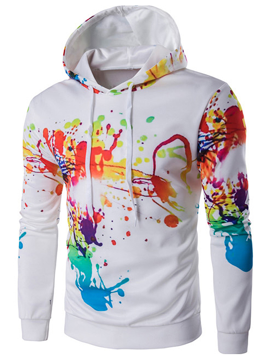 Colorful Abstract Print Drawstring Men Hoodie