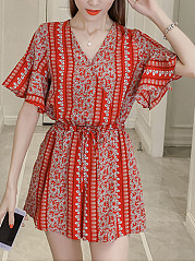 V-Neck-Drawstring-Pocket-Printed-Wide-Leg-Romper