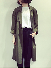 Notch Lapel  Double Breasted  Plain Trench Coat
