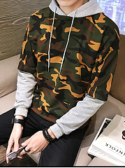 Camouflage Color Block Men Hoodie