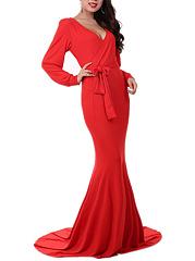 Deep-V-Neck-Plain-Belt-Mermaid-Evening-Dress