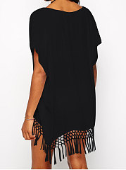 Decrotive Fringe V-Neck  Extra Short Sleeve Tunic