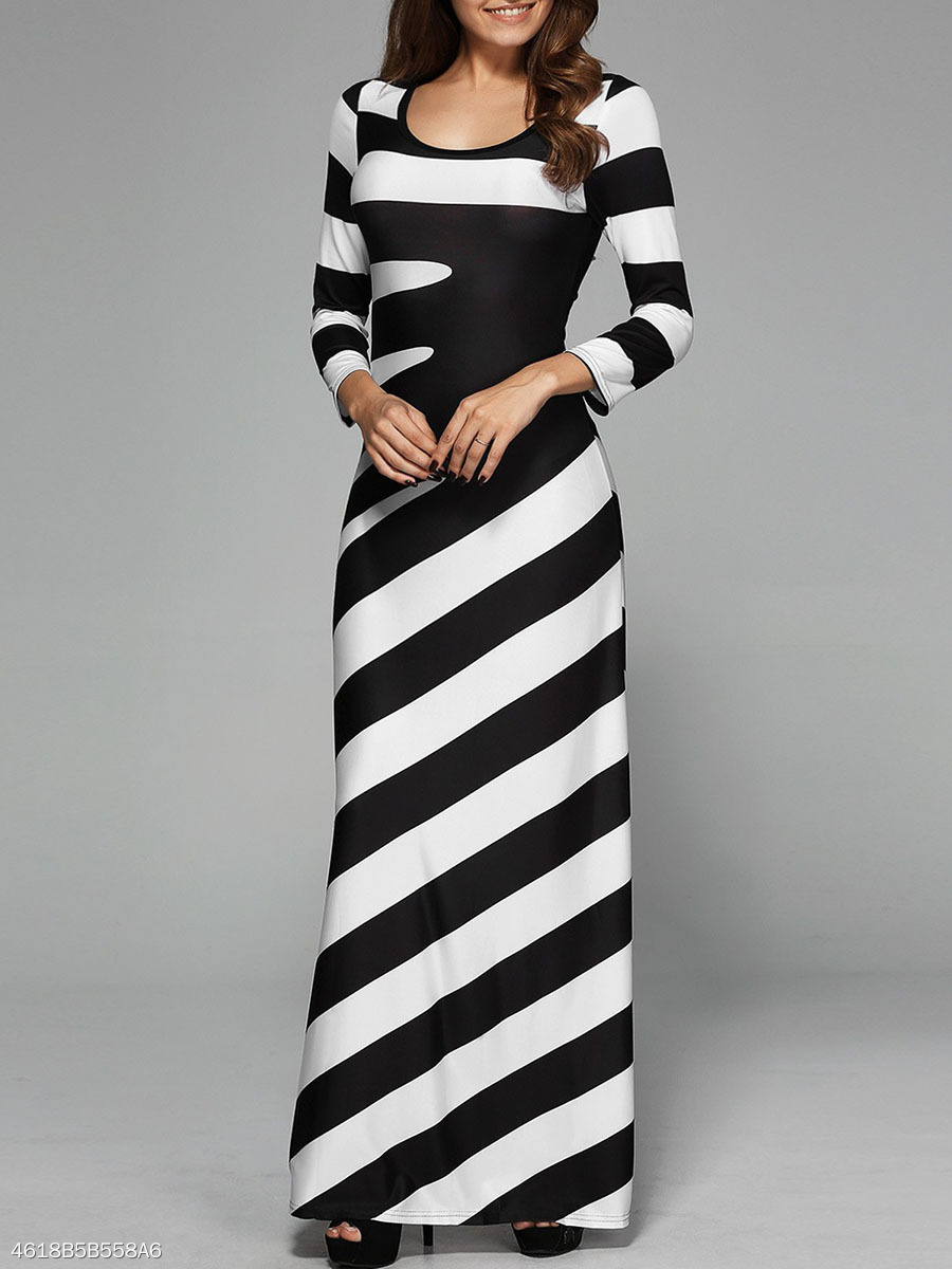 Black White Striped Round Neck Long Dress