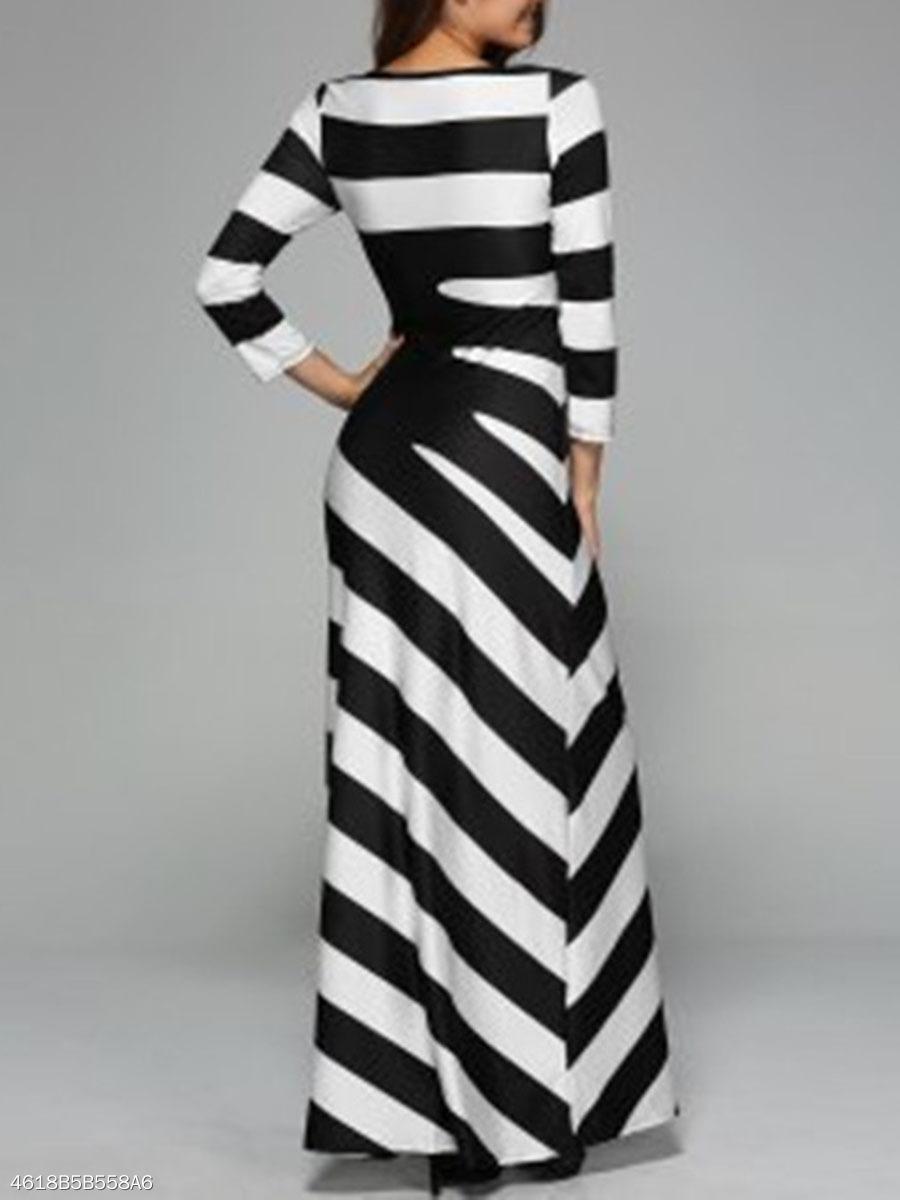 Black White Striped Round Neck Long Dress - fashionMia.com