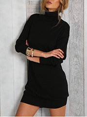 High Neck  Plain Midi Casual Shift Dress