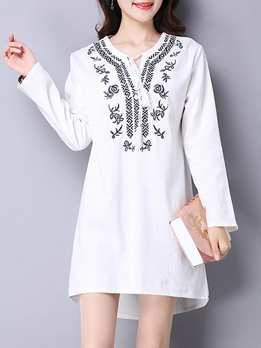 Tie Collar Embroidery Shift Dress