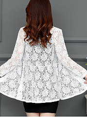 Collarless Lace See-Through  Plain Cardigan