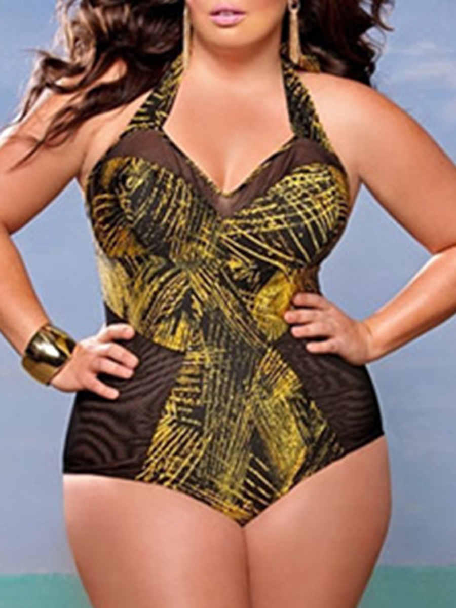 Tie Collar  Printed Plus Size One Piece
