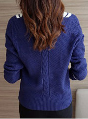 V-Neck White And Black Blue Sweater