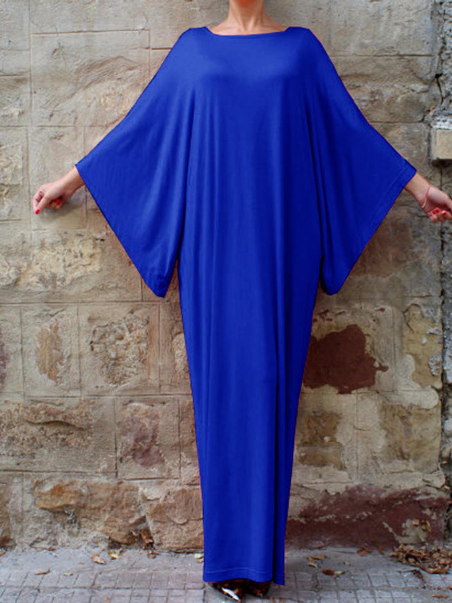 fashion plain casual autumn oversized Round Neck  Plain Maxi Dress