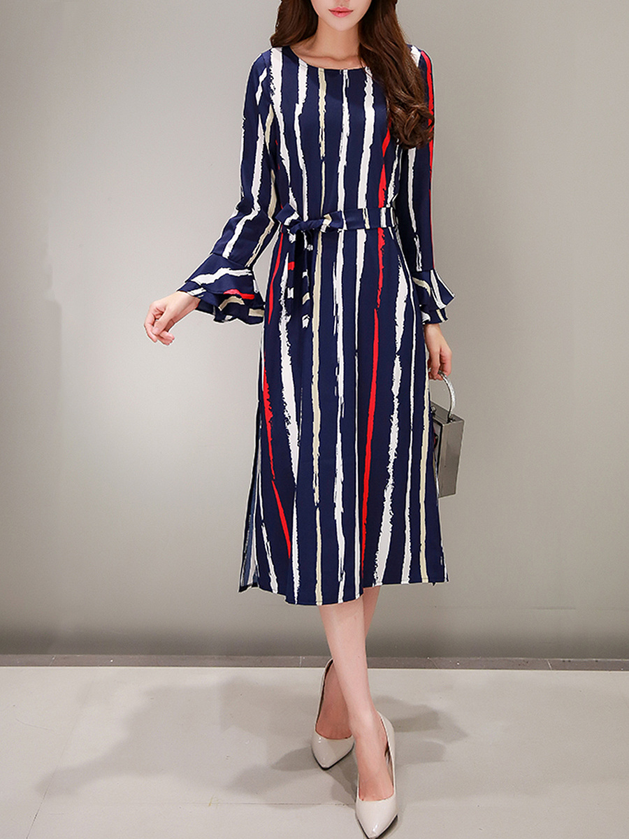 Bell Sleeve Vertical Striped Side Slit Maxi Dress