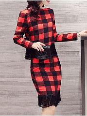 Word Collar  Cutout Fringe  Quilted  Plaid Bodycon Dress