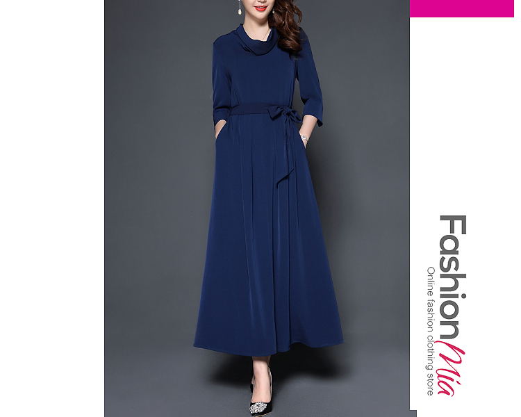 material:polyester, collar&neckline:cowl neck, sleeve:long sleeve, more_details:belt, pattern_type:plain, length:ankle-length, how_to_wash:cold gentle machine wash, supplementary_matters:all dimensions are measured manually with a deviation of 2 to 4cm., occasion:basic,date, season:autumn,winter, dress_silhouette:empire line, package_included:belt*1,dress*1, shoulderbustwaist