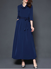 Cowl Neck  Belt  Plain Maxi Dress