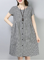Plaid  Round Neck Casual Shift Dress