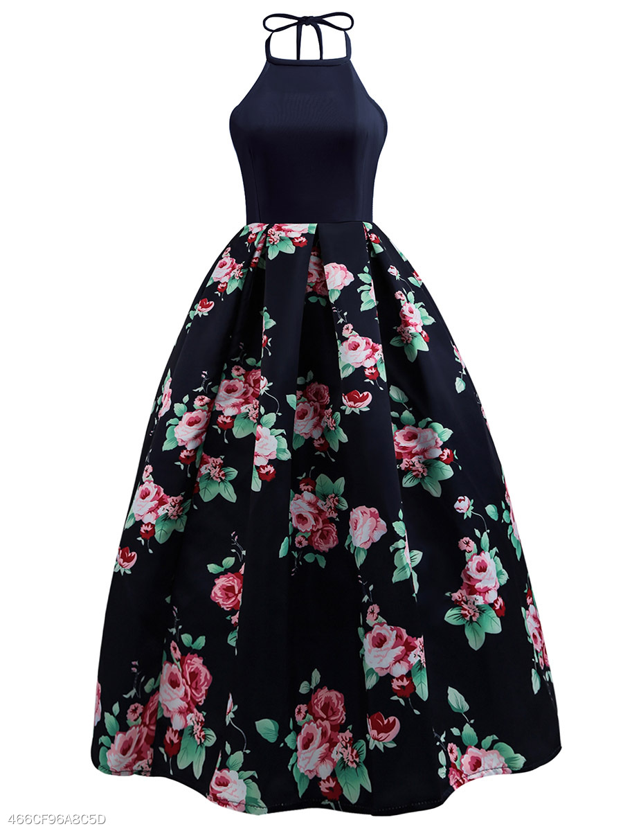 Halter Floral Printed Backless Evening Dress