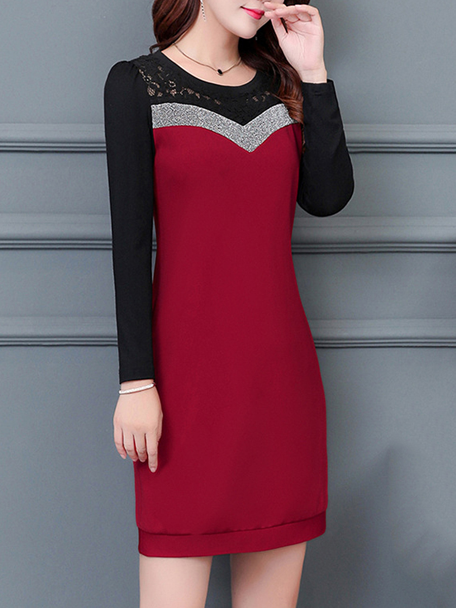 Round Neck Color Block Hollow Out Bodycon Dress