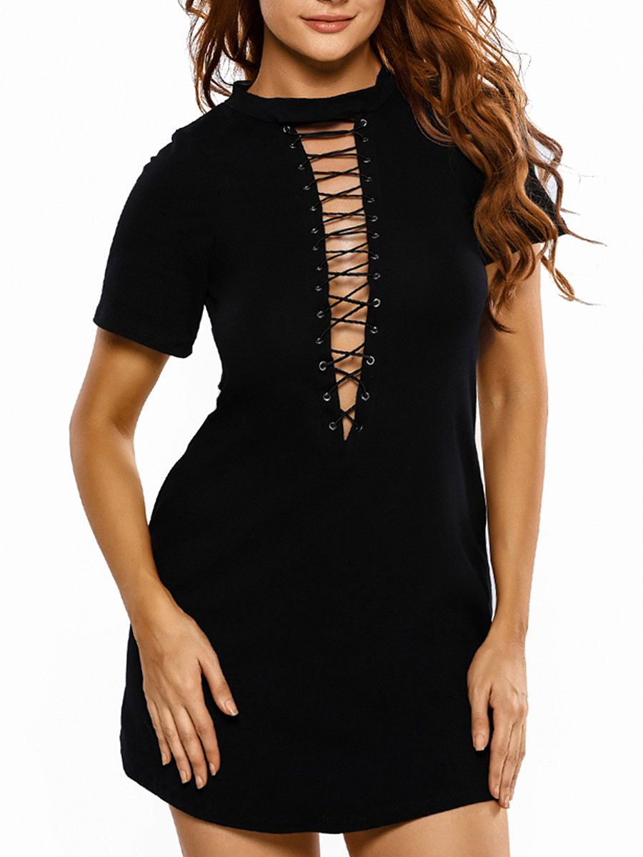 Band Collar Cutout Lace-Up Plus Size Bodycon Dress
