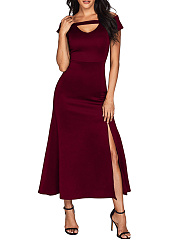 Asymmetric Neck  High Slit  Plain Maxi Dress