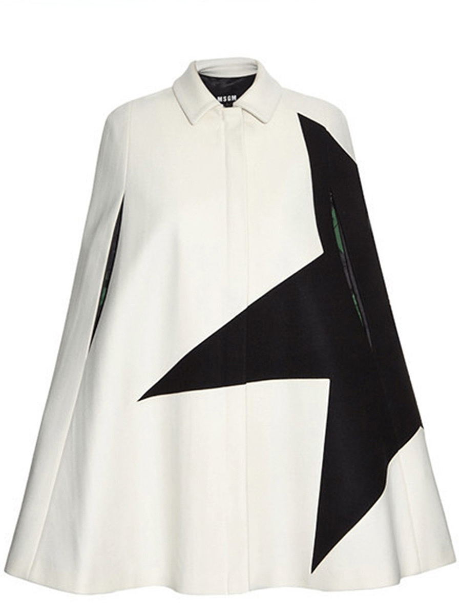 Modern Color Block Cape Sleeve Coat