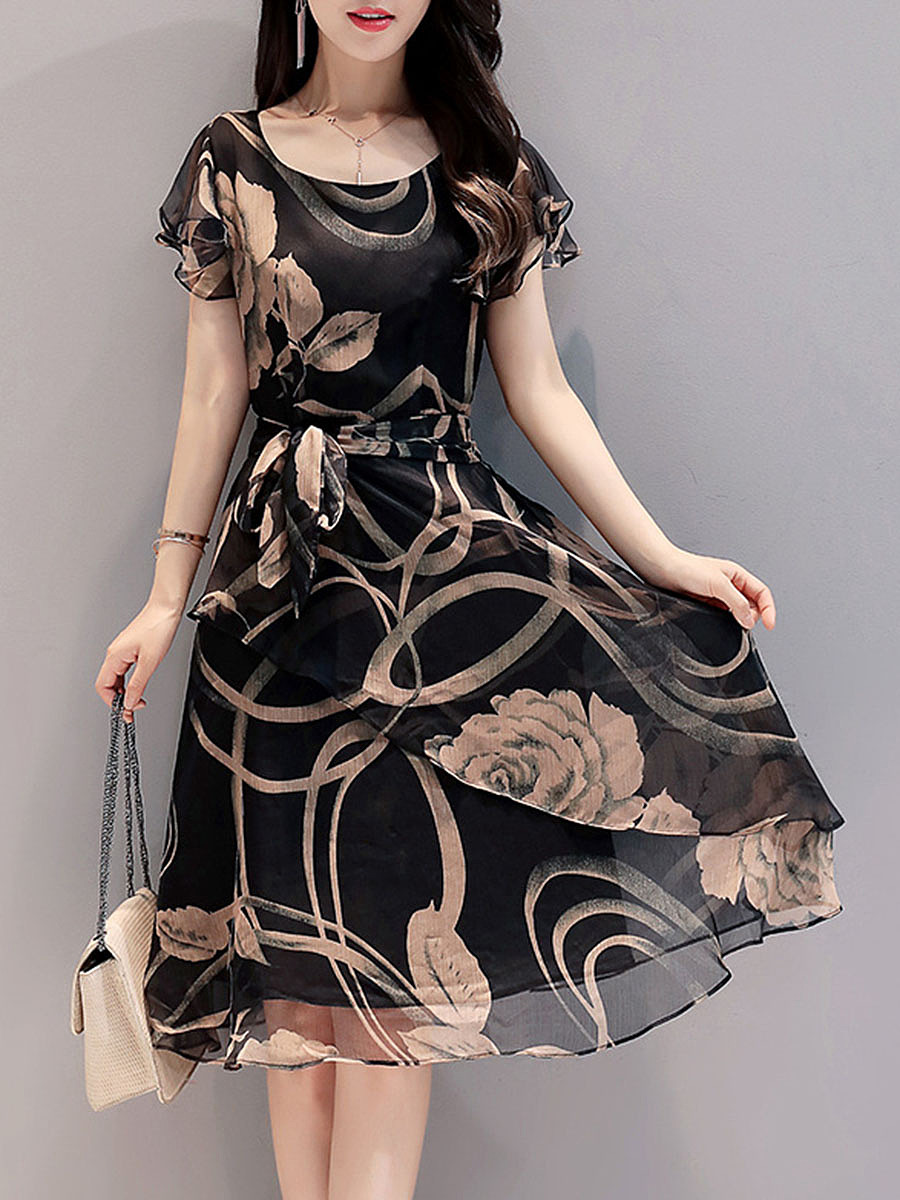Summer Round Neck Printed Chiffon Skater Dress