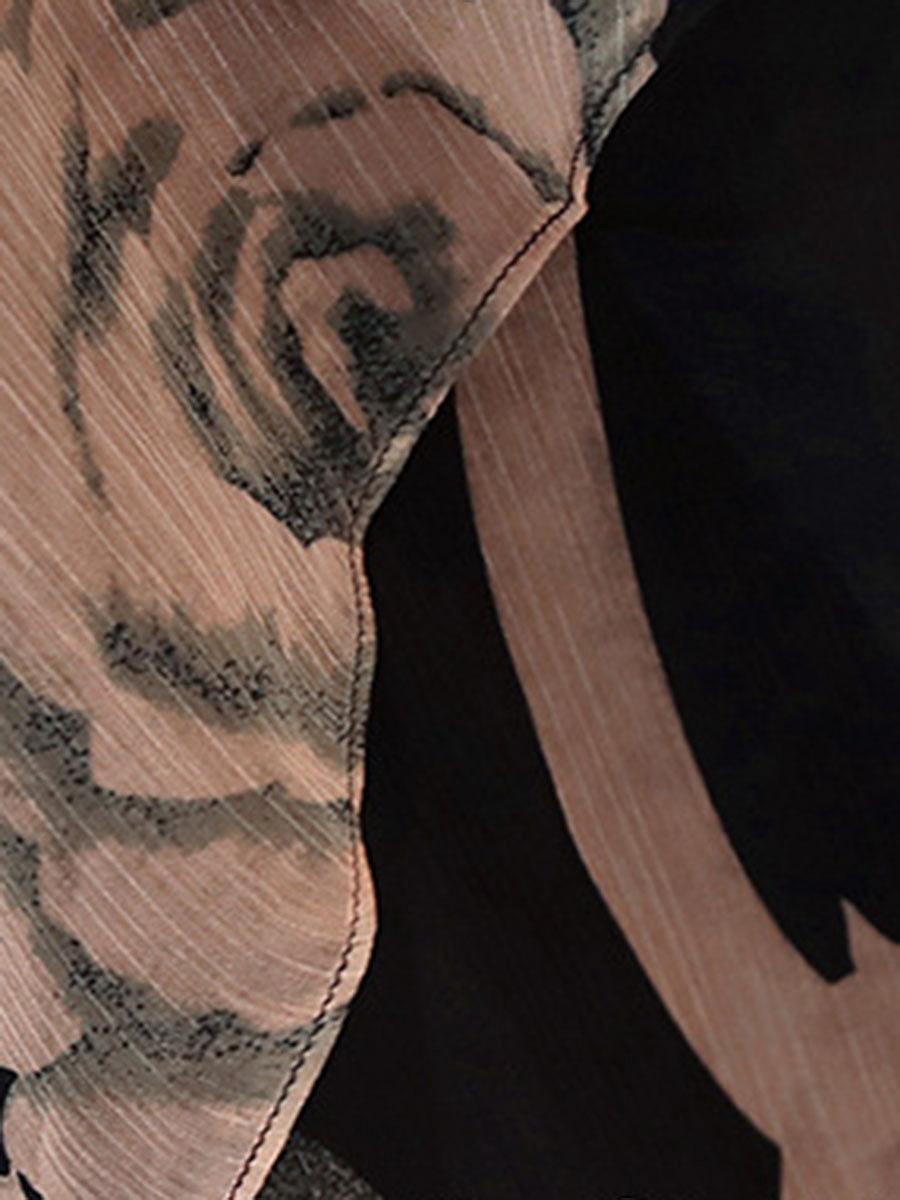 Summer Round Neck Printed Chiffon Skater Dress