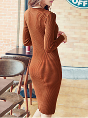 Band Collar Cutout Plain Knitted Bodycon Dress